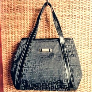Longchamp Black Logo Fabric Small Satchel Tote